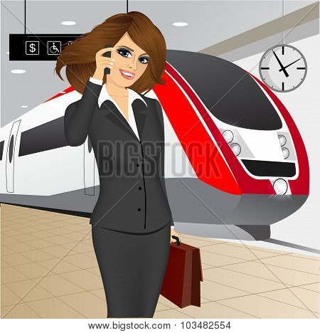 businesswoman waiting for the train