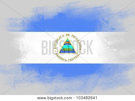 Flag Of Nicaragua Painted With Brush
