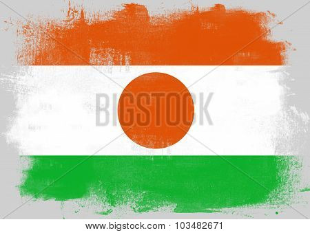 Flag Of Niger Painted With Brush