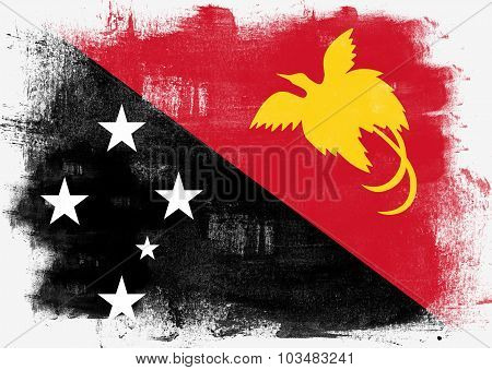 Flag Of Papua New Guinea Painted With Brush