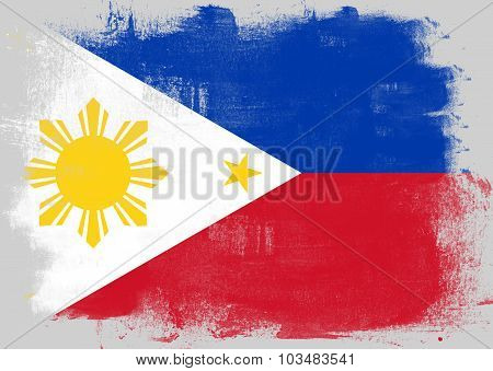 Flag Of Philippines Painted With Brush