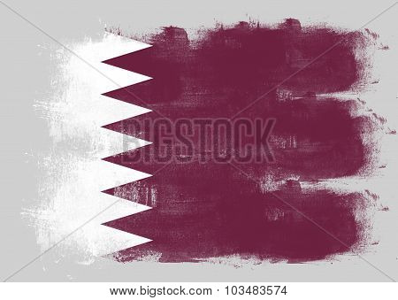 Flag Of Qatar Painted With Brush