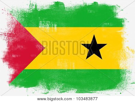 Flag Of Sao Tome And Principe Painted With Brush