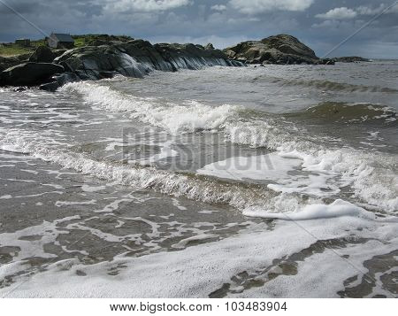 Natural stormy beach