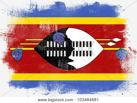 Flag Of Swaziland Painted With Brush
