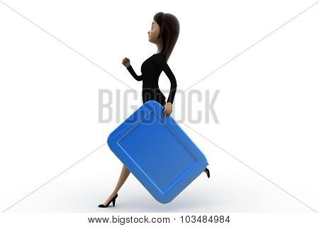 3D Woman Runing With File Concept