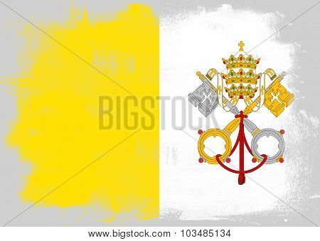 Flag Of Vatican City Painted With Brush