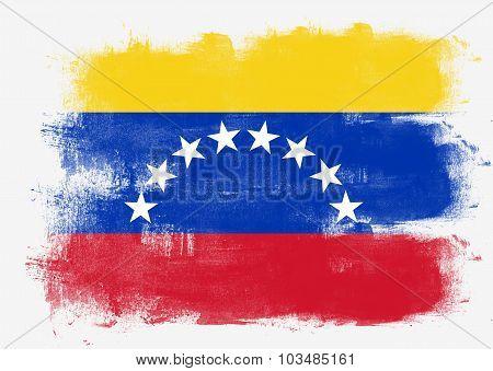 Flag Of Venezuela Painted With Brush