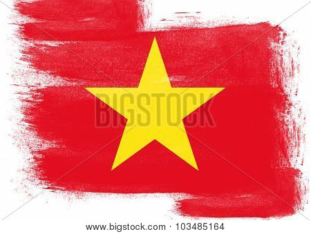 Flag Of Vietnam Painted With Brush