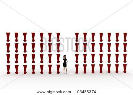 3D Woman With Many Exclamation Marks Concept
