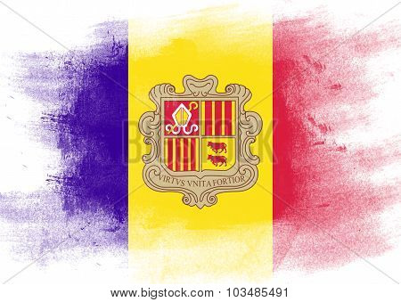 Flag Of Andorra Painted With Brush