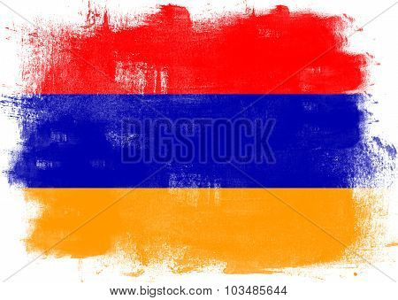 Flag Of Armenia Painted With Brush