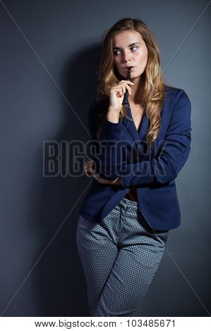 Elegant Woman With E-cigarette Wearing Suit