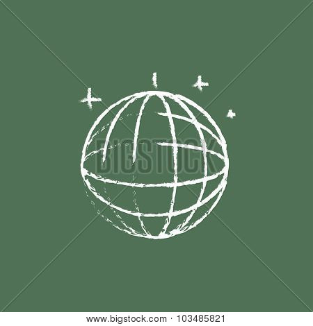 Disco ball hand drawn in chalk on a blackboard vector white icon isolated on a green background.