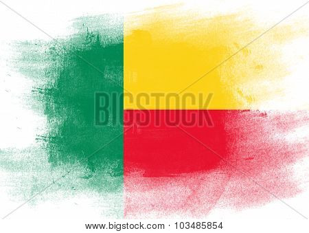 Flag Of Benin Painted With Brush