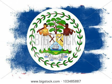 Flag Of Belize Painted With Brush