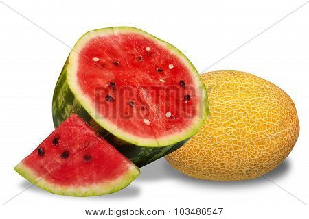 Watermelon And Melon Isolated On White Background