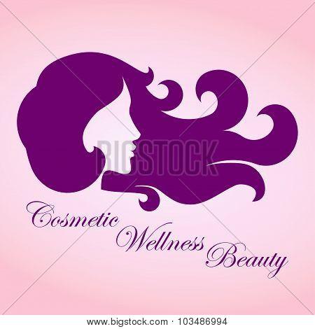 Beauty girl with curly hair logo - vector