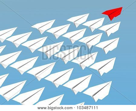 Leadership Concept. Flying Paper Planes