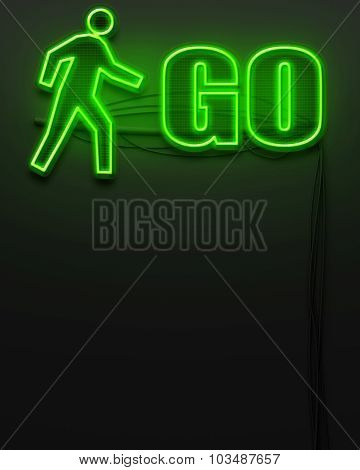 Neon Glowing Sign With Word Go, Copyspace
