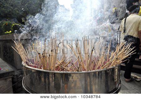 Burning Incense Stick Group Many Smoke