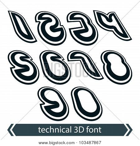 Retro Style Rounded Numeration, Technical 3D Numbers, Contemporary Shift Geometric Symbols.