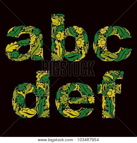 Stylish Script With Herbal Ornament. Lowercase Letters Decorated With Floral Pattern, A, B, C, D, E,
