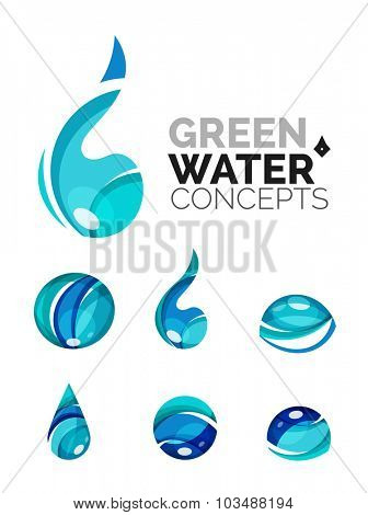 Set of abstract eco water icons, business logotype nature green concepts, clean modern geometric design. Created with transparent abstract wave lines
