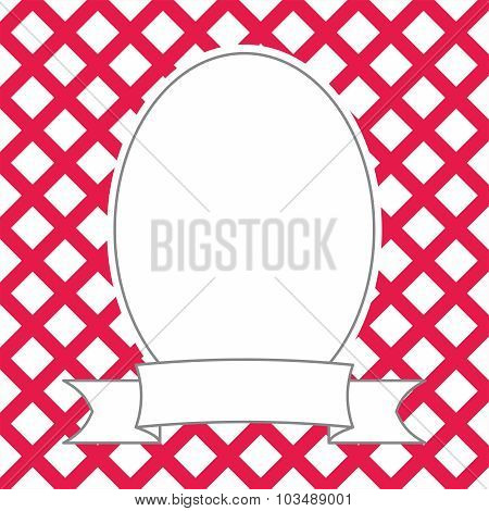 Vector photo frame on red and white background