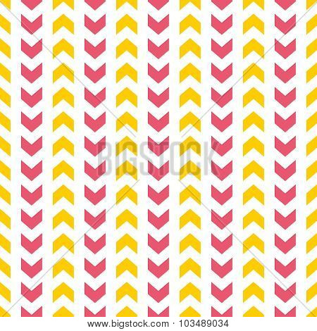 Tile vector pattern with yellow and pink arrows on white background