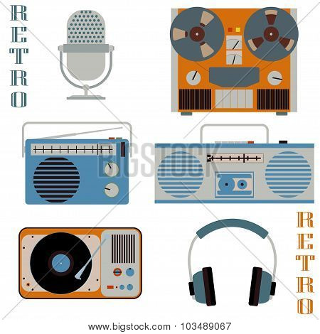 Retro media technology icons