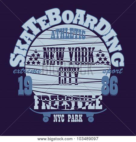 Skateboarding New York t-shirt graphic design