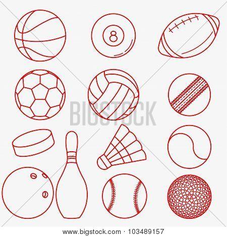 Sport balls red thin line design
