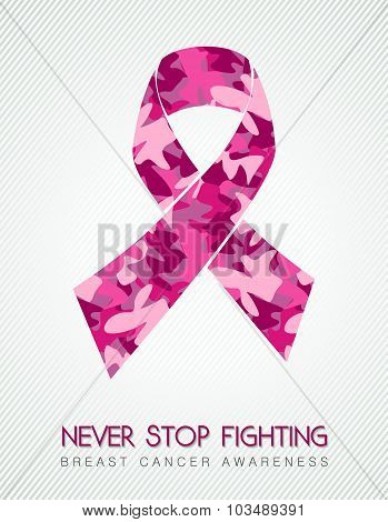 Breast Cancer Pink Ribbon Fight Women Camouflage