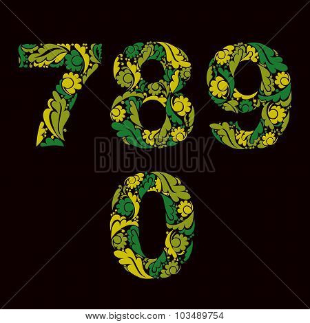 Spring Style Green Vector Digits, Numbers With Eco Floral Ornament. 7, 8, 9, 0.