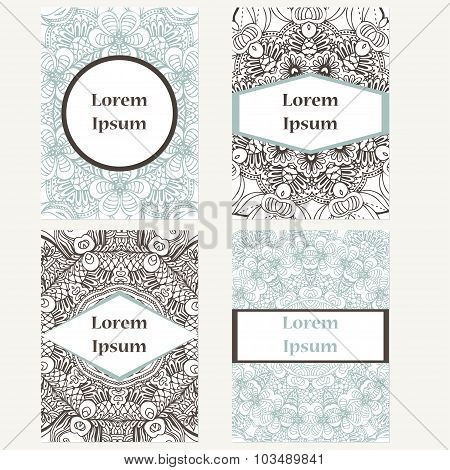 Set Of Design Vertical Template Brochures. Hand Drawn Background With Mandala. Can Be Used For Yoga