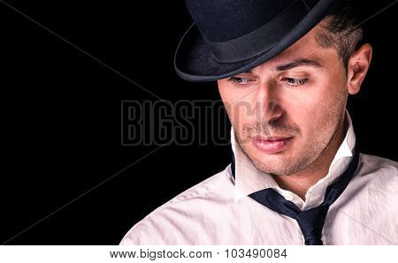 Handsome Man With Bowler And Tie - Deep Serious Expression