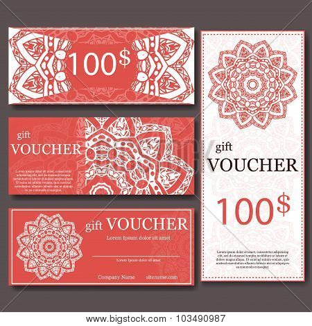 Gift Voucher Template With Mandala. Design Certificate For Sport Or Yoga Center, Magazine Or Etc. Ve