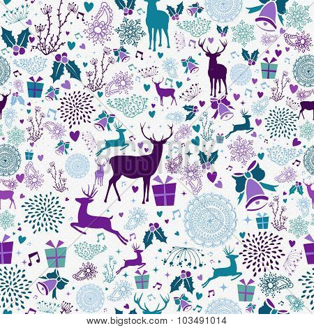 Merry Christmas Vintage Element Seamless Pattern