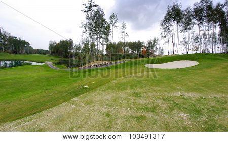 Golf Course Landscape View Before Storm