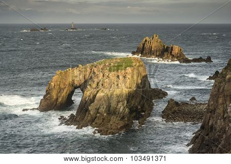 Beautiful Sunrise Landscape Of Land's End In Cornwall England