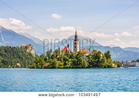 Catholic Church On Island And Bled Castle On Bled Lake