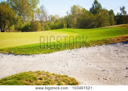 Golf Course Landscape View, Field And Sand Bunker