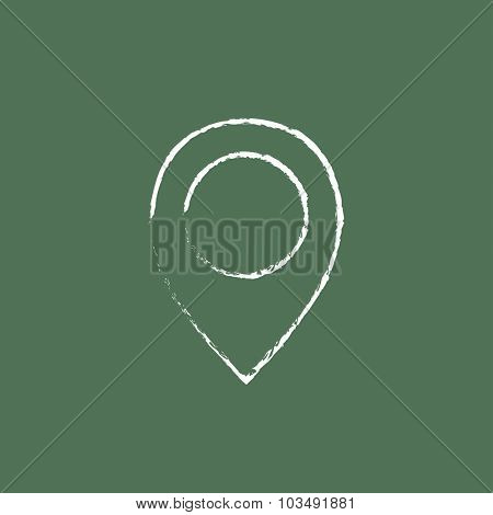 Map pointer hand drawn in chalk on a blackboard vector white icon isolated on a green background.