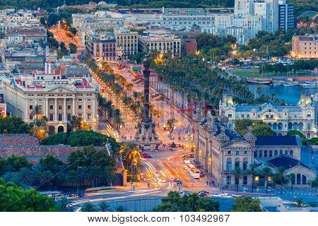 Mirador de Colom at evening, Barcelona, Spain