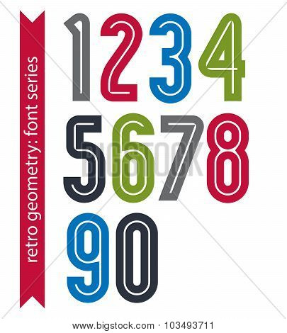 Multicolored Poster Classic Style Rounded Numbers. Ordinary Vector Numeration For Advertising, Graph
