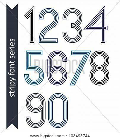 Blue Slim Numbers, Single Color Delicate Digits With Triple Lines Isolated On White Background. Stan