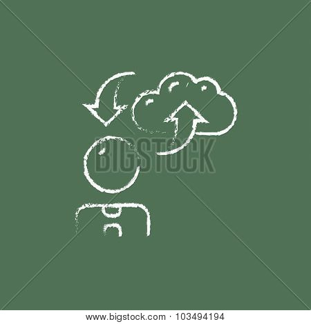 Cloud computing arrows hand drawn in chalk on a blackboard vector white icon isolated on a green background.