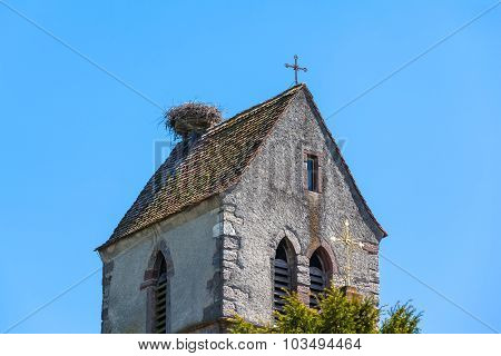 Nest Of Stork On Top Of Chapel