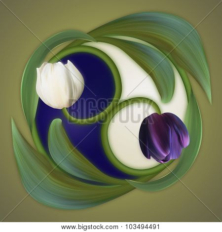 Conceptual Banner Of The Yin-yang Simbol. Poster Of Duality. White And Black, Dark And Light. Tulips